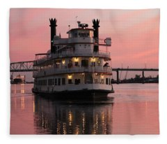 Riverboat At Sunset Fleece Blanket