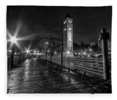 Riverfront Park Clocktower Seahawks Black And White Fleece Blanket
