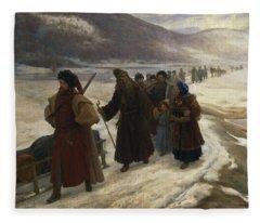 Road To Siberia Oil On Canvas Fleece Blanket