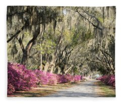 Road With Azaleas And Live Oaks Fleece Blanket