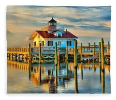 Roanoke Marsh Lighthouse Dawn Fleece Blanket