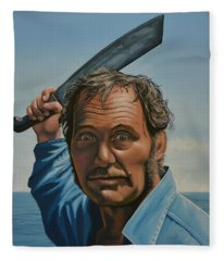 Robert Shaw In Jaws Fleece Blanket