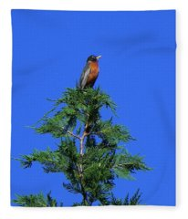 Robin Christmas Tree Topper Fleece Blanket