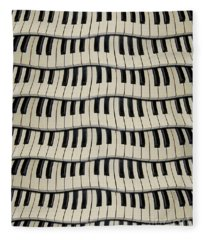 Rock And Roll Piano Keys Fleece Blanket