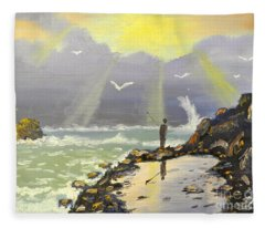 Rock Fishing At Wombarra  Fleece Blanket