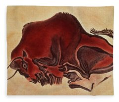 Rock Painting Of A Bison, Late Magdalenian, 13000 Bc Fleece Blanket