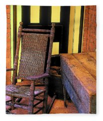 Rocking Chair And Woodbox Fleece Blanket