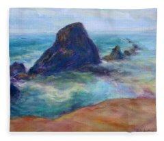 Rocks Heading North - Scenic Landscape Seascape Painting Fleece Blanket