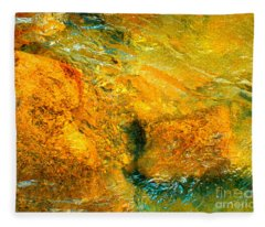 Rocks Under The Stream By Christopher Shellhammer Fleece Blanket