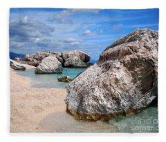 Rocky Beach In Sardinia Fleece Blanket