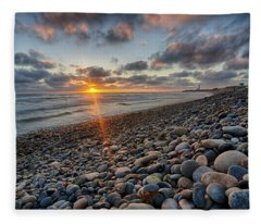 Rocky Coast Sunset Fleece Blanket