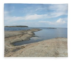 Rocky Coastline In Hamina Fleece Blanket