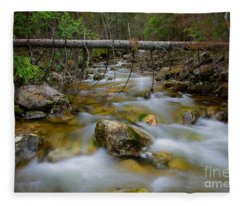 Rocky Forest Creek With Motion Blurred Water Fleece Blanket