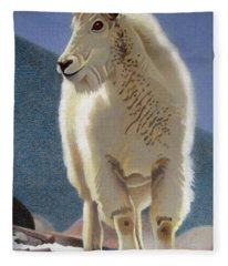 Rocky Mountain Goat Fleece Blanket