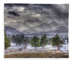 Rocky Mountain Snow Storm Estes Park Colorado Fleece Blanket