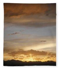 Rocky Mountain Sunset 3 Fleece Blanket