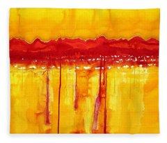 Rocky Mountains Original Painting Fleece Blanket