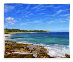 Rocky Shore Near Poipu Fleece Blanket