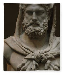 Roman Art. Marble Statue Of A Bearded Hercules Covered With Lions Skin. Early Imperial, Flavian Fleece Blanket