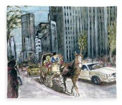 New York 5th Avenue Ride - Fine Art Painting Fleece Blanket