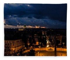 Rome Cityscape At Night  Fleece Blanket