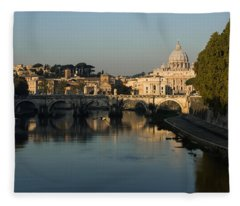 Rome - Iconic View Of Saint Peter's Basilica Reflecting In Tiber River Fleece Blanket