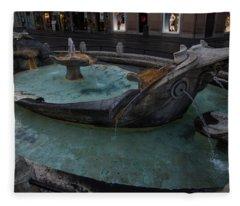 Rome's Fabulous Fountains - Fontana Della Barcaccia At The Spanish Steps  Fleece Blanket