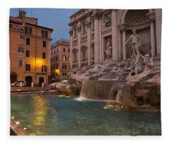 Rome's Fabulous Fountains - Trevi Fountain At Dawn Fleece Blanket