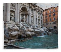 Rome's Fabulous Fountains - Trevi Fountain No Tourists Fleece Blanket