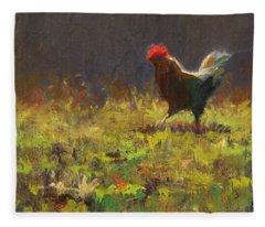 Rooster Strut - Impressionistic Chicken Landscape - Abstract Farm Art - Chicken Art - Farm Decor Fleece Blanket