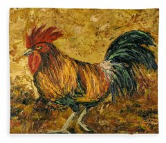 Fleece Blanket featuring the painting Rooster With Attitude by Darice Machel McGuire