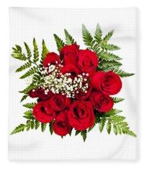 Rose Bouquet From Above Fleece Blanket
