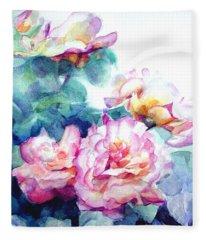 Pink Rose Bush Fleece Blanket