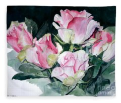 Watercolor Of A Pink Rose Bouquet Celebrating Ezio Pinza Fleece Blanket