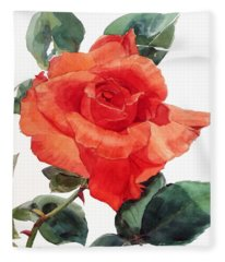 Watercolor Of A Single Red Rose I Call Red Rose Filip Fleece Blanket