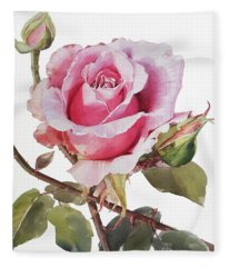 Watercolor Of Pink Rose Grace Fleece Blanket