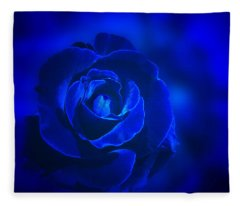 Rose In Blue Fleece Blanket