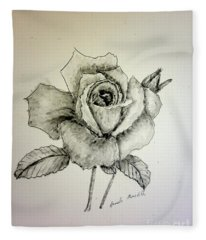 Rose In Monotone Fleece Blanket