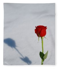 Rose In Snow Spring Approaches Fleece Blanket