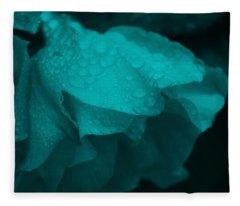 Rose In Turquoise Fleece Blanket