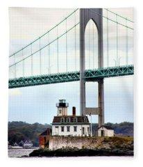 Rose Island Lighthouse Fleece Blanket