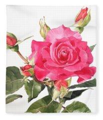 Watercolor Red Rose Margaret Fleece Blanket