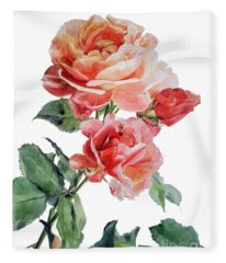 Watercolor Of Red Roses On A Stem I Call Rose Maurice Corens Fleece Blanket