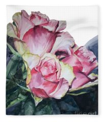 Watercolor Of A Bouquet Of Pink Roses I Call Rose Michelangelo Fleece Blanket