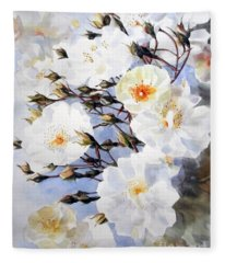 Wartercolor Of White Roses On A Branch I Call Rose Tchaikovsky Fleece Blanket