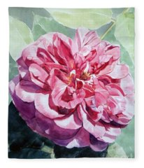 Watercolor Of A Pink Rose In Full Bloom Dedicated To Van Gogh Fleece Blanket