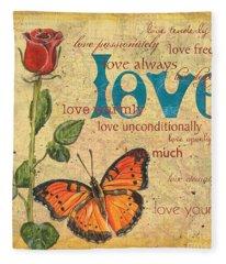 Roses And Butterflies 2 Fleece Blanket