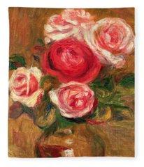 Roses In A Pot Fleece Blanket