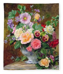 Roses Pansies And Other Flowers In A Vase Fleece Blanket