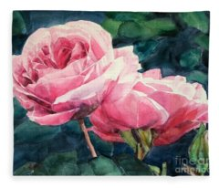 Watercolor Of Two Luscious Pink Roses Fleece Blanket